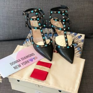 Valentino Rockstud Rolling Caged Leather Pumps